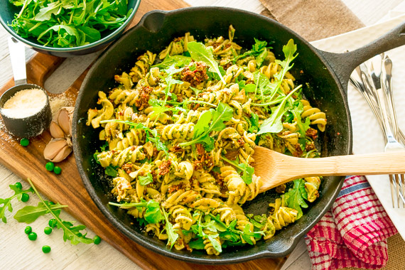 Fusilli with Pesto, Peas and Rocket