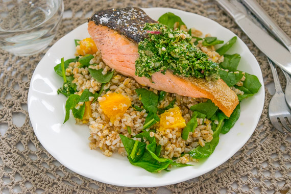 Salmon Fillets with Salsa Verde with Orange, Spinach & Farro Salad