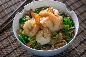 Prawns with Lemongrass, Soba Noodles & Chinese Broccoli