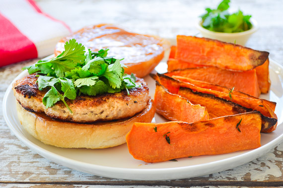 Thai Style Chicken Burgers with Sweet Potato Wedges & Sweet Chili Mayo