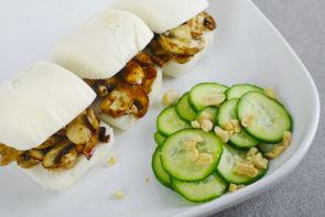 Char Siu Inspired Mushroom Bao Buns with Fresh Peanut Cucumber Salad