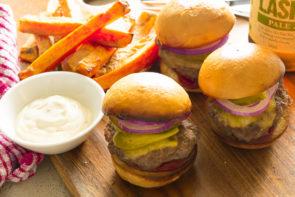 Cheeseburger Brioche Sliders, with Sweet Potato Fries & Seriously Good Garlic Aioli