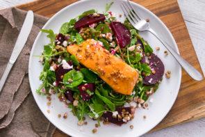 Maple Glazed Salmon with Hazelnut, Fetta & Baby Beetroot Salad