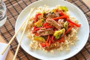 Beef and Red Capsicum Stir Fry over Brown Rice